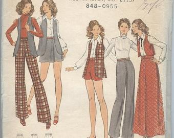 1960s Suit Pattern Butterick 6822 Mini Skirt Flared Pants Vest Shorts A Line Skirts Vintage Teen Sewing Patterns Size 5-6 uncut