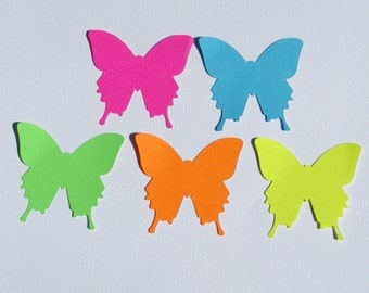 "Paper butterfly die cuts /Bright colors/ 50pc/ your choice of size, 1.5"",2"",2.5"",3"", 3.5"", great for tags, scrapbooking, baby shower"