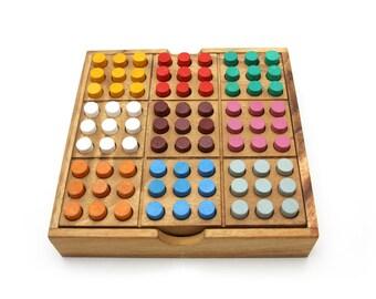 Colored Sudoku - wood game, sudoku wooden board game