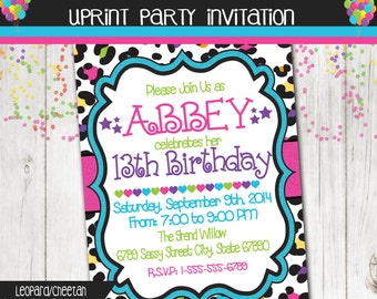 Leopard / Cheetah Print Invitation - Birthday Invitation - Colorful