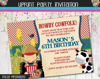 Tractor Invitation - Farm Invitation - Printable - Custom