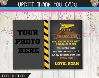Construction Party Thank You Card - Dump Truck Thank You Card - Custom - Personalized - Printable - Chalkboard