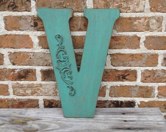 Custom Distressed Wooden Letter,Large Painted Shabby Chic Initial, Monogram