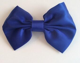 HAIR BOW ROYAL Blue Satin Barrette Vintage