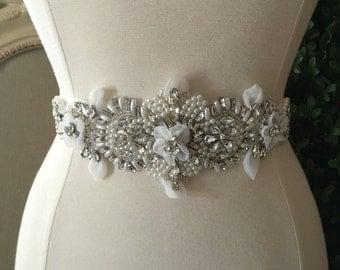 Bridal Sash - Wedding Dress Sash Belt - Pearl and Rhinestone Ivory Sash - Ivory Rhinestone Bridal Sash