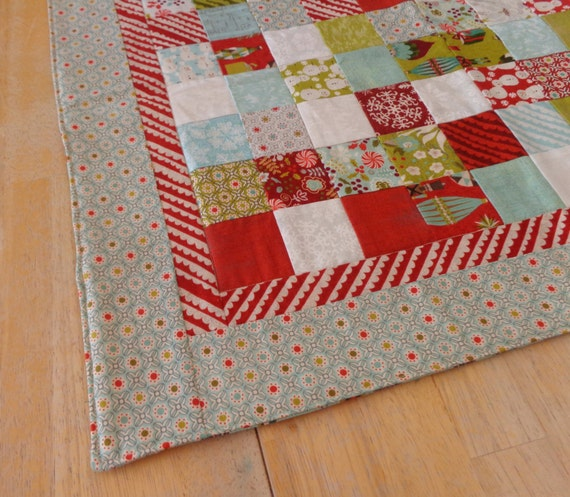 Quilted Christmas table runner holiday table topper