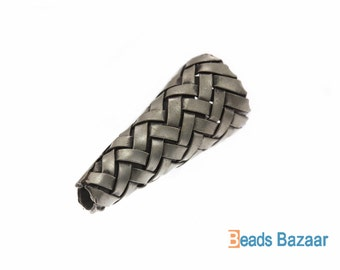 Karen Hill Tribe silver Weaving Wire Cone Bead, 12 x 27 mm ( 2 beads )