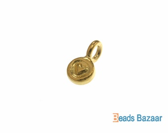 Karen Hill Tribe silver Gold vermeil Round Engrave Tiny Heart Charm, 5.5 mm ( 10 pieces )