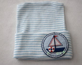 Newborn Beanie Hospital Hat, Baby Boy, Cotton, Blue and White, Sailboat, Nautical Applique, Baby Keepsake, Patch, Anchor, Embroidered