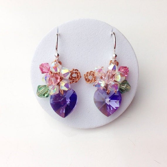 small purple crystal heart dangle earrings blue heart earrings flower earrings chic dangle. Black Bedroom Furniture Sets. Home Design Ideas