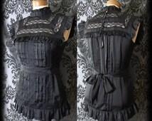 Gothic Black High Neck Lace Bib VICTORIAN GOVERNESS Satin Sash Top 8 10 Vintage