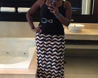 Geo-Chevron Maxi Skirt