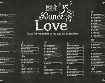 Wedding seating chart sign//Eat Dance Love Chalkboard Wedding Seating Chart// PDF, Digital chart