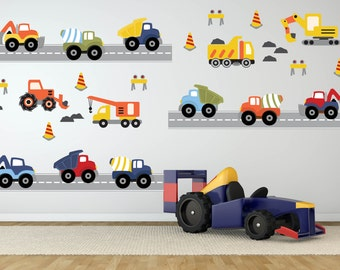 Construction Trucks Wall Decal - Transportation Decals - Truck Decals