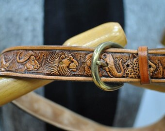 Vintage EMBOSSED leather belt ....