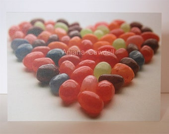 Jellybeans Heart Card, Valentines Photography Card, Jellybeans Card, Jelly Beans Card, Mothers Day Card, Sweet Card, Card for Sweet Lover