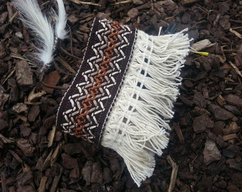 Hand sewn embroidered and fringe armband