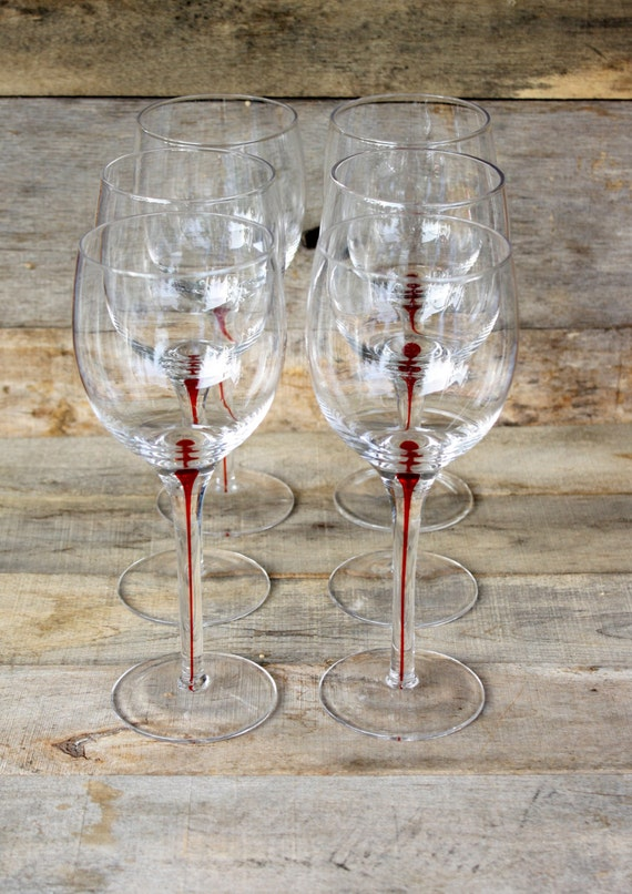 Vintage red stem wine glasses set of six by nanasatticfairy for Thin stem wine glasses