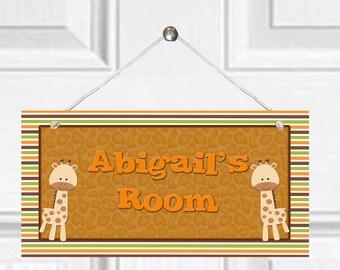 Personalized Child's Door Sign - Giraffe Theme
