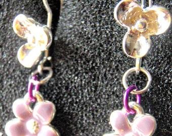Purple enamel flower earring