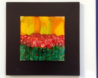 Alcohol ink tile mounted on frame