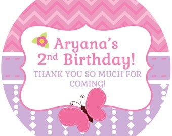 """Butterfly Birthday Personalized Stickers, 1st Birthday Personalized Labels Size 2.25"""""""