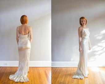 1920's Ivory Liquid Silk Satin and Rhinestone Formal Gown / Wedding / XS