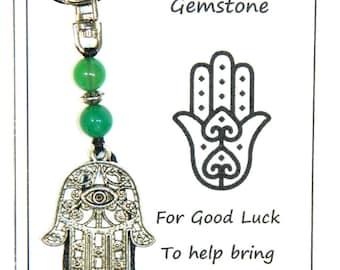 W075 Good Luck Gemstone - Green Agate & Hamsa Hand Keyring Handmade by Jeannieparnell