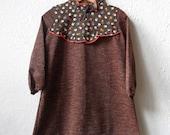 Gunnersbury Park - Retro Brown Floral Dress - Age 3 to 6 Years