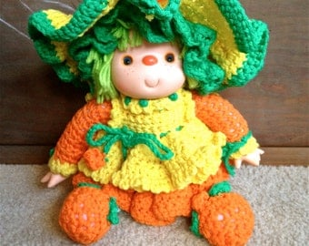 1970's Handmade Doll with Hand-Knitted Outfit