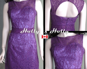 Purple Lace Bridesmaid Dress / Purple Bridesmaid Dress / Purple Lace Dress