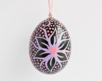 FREE SHIPPING, Hand painted egg, Chicken egg shell, Easter home decorations, Easter flowers decor, Pysanka, Black, Pink, Purple, Pysanky