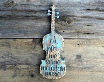 Fiddle, Violin Decor, Musical Signs and Wall Art, Country Western and Bluegrass Decor, Wall Signs, Fiddle Gifts, Musical Gifts, Wooden Signs