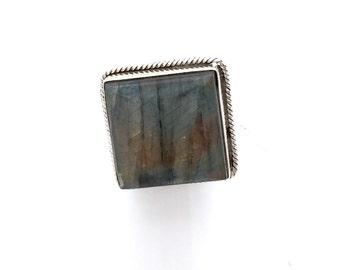 Square Labradorite Statement Ring