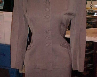 1950s Grey Gabardine Suit, Covered Buttons, Straight Skirt. Small, 2192