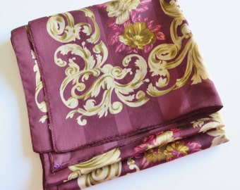 Vintage 1980's burgundy and antique gold long scarf