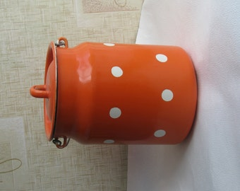 New Soviet Vintage enamel milk can with lid. Orange Polka Dot Retro - Kitchen Decor - Home decor - Industrial vintage - Made in USSR