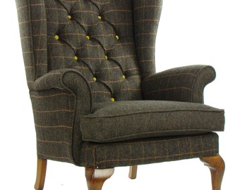 Vintage Parker Knoll Armchair Harris Tweed Wool