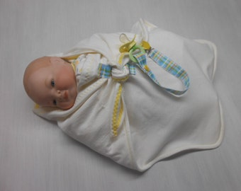Organic Newborn Swaddle Blanket with pacifier clip