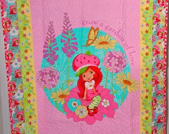 Modern Strawberry Shortcake Baby/toddler quilt