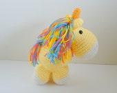 Yellow Crocheted Unicorn Plush Toy - LAST CHANCE!