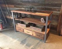 Reclaimed Wood Media Console & Shelving Unit