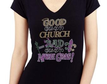 BAD Girls go to MARDI GRAS Handmade Rhinestone V Neck T shirt
