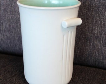 RumRill Pottery Vase White Glaze with soft Green interior Vintage