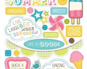 Carta Bella COOL SUMMER 6x13 Sheet of Chipboard Elements - Great for Scrapbooking and Card Making!