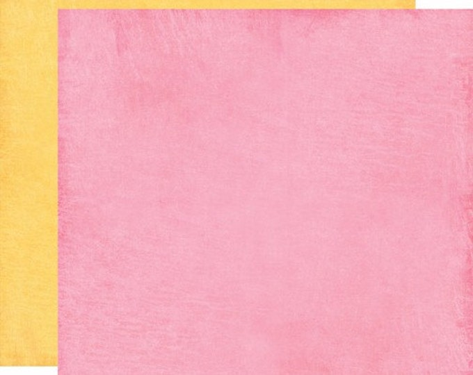 2 Sheets of Carta Bella COOL SUMMER 12x12 Textured Scrapbook Paper - Picnic Pink / Sunshine