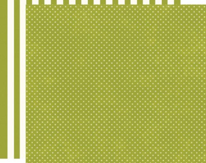 2 Sheets of Echo Park Paper DOTS & STRIPES Soda Fountain 12x12 Scrapbook Paper - Kiwi Tiny Dots