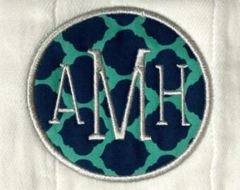 Custom Appliqué Monogrammed Burp Cloth