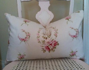Shabby Chic, Barkcloth, Cottage Chic Pillow Cover, French Reproduction