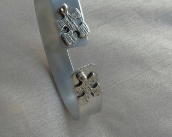 Hand Stamped Bible Verse Bracelet Adjustable Aluminium, With Puzzle Pieces, Hypo-allergenic,